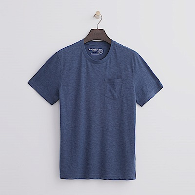 Hang Ten - 男裝 -有機棉 口袋造型竹節T恤-藍色