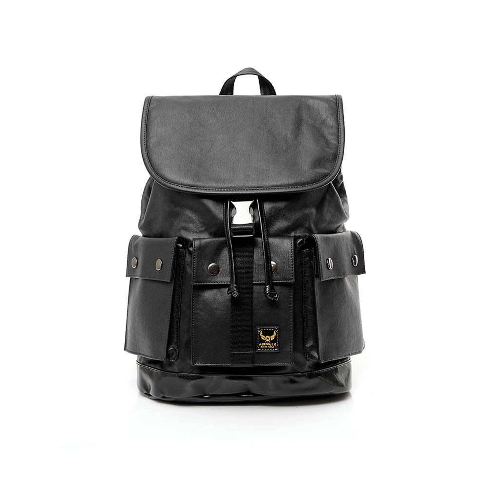 【AIRWALK】黑金系列 空降使者系列三口袋多功能後背包-黑