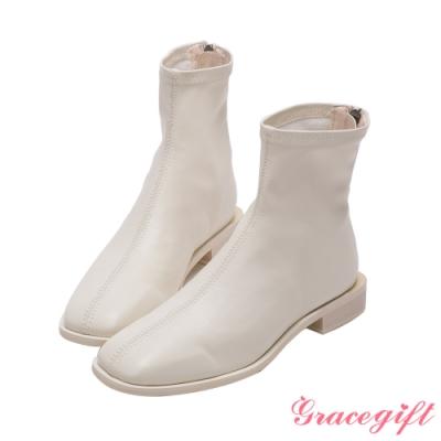 Grace gift-ETUDE leather shop-俐落方頭平底短靴 白