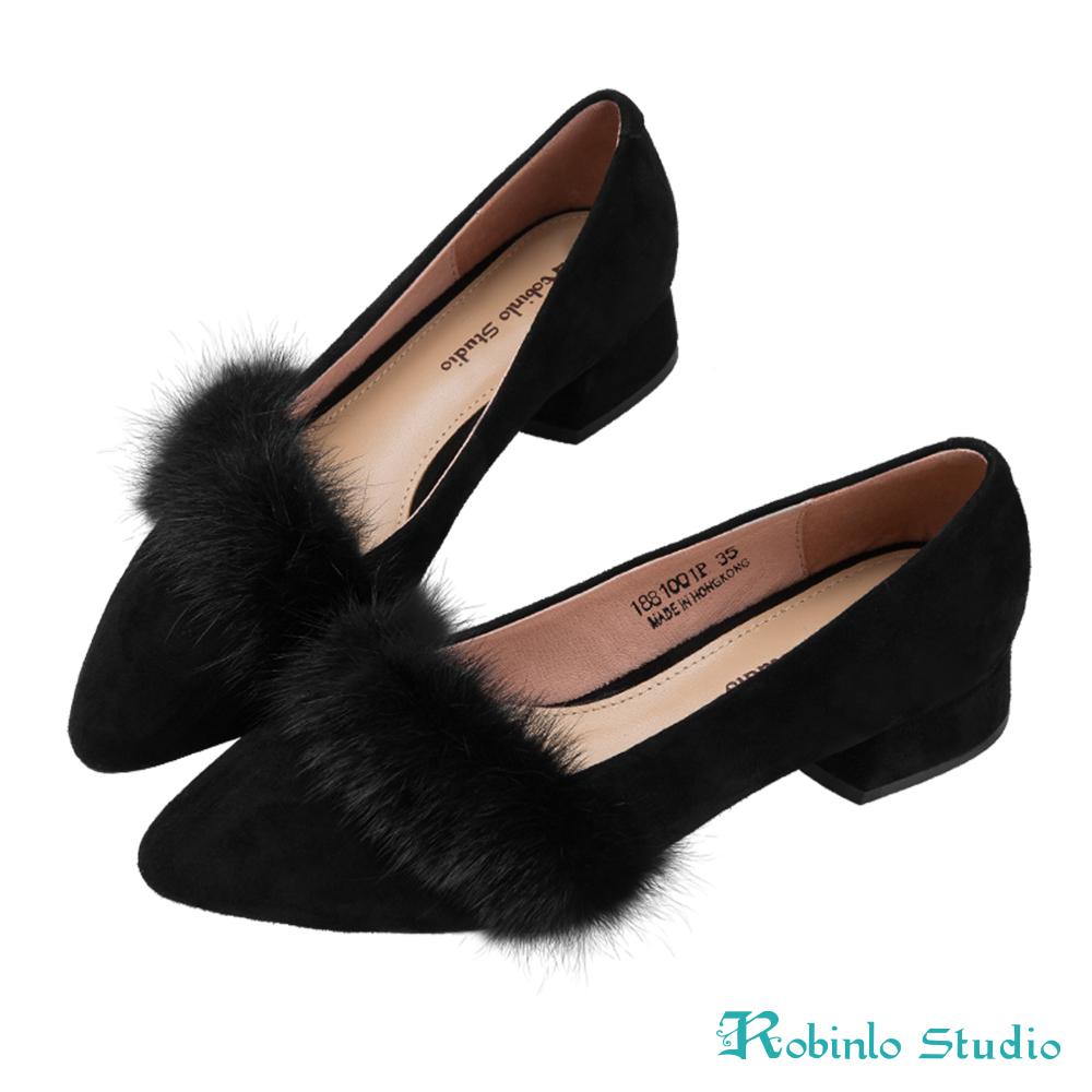 Robinlo 名媛氣質貂毛微尖頭粗跟鞋 黑
