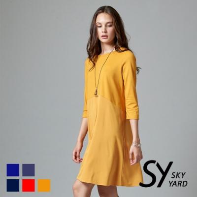 【SKY YARD 天空花園】素色七分袖收腰傘狀連身洋裝-黃色