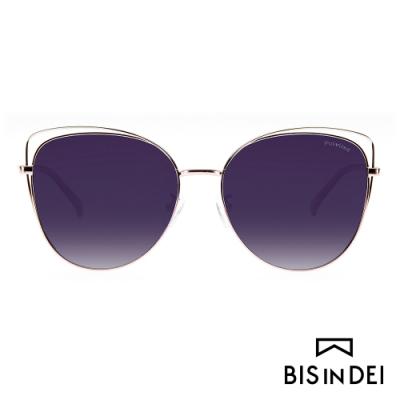 BIS IN DEI 鏤空造型貓眼眶太陽眼鏡-粉