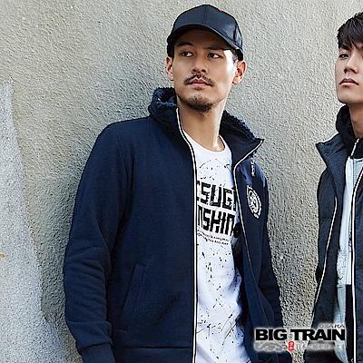 BIG TRAIN 雙層立領外套-男-深藍
