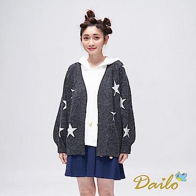 Dailo INLook 星星針織澎袖外套(黑色)
