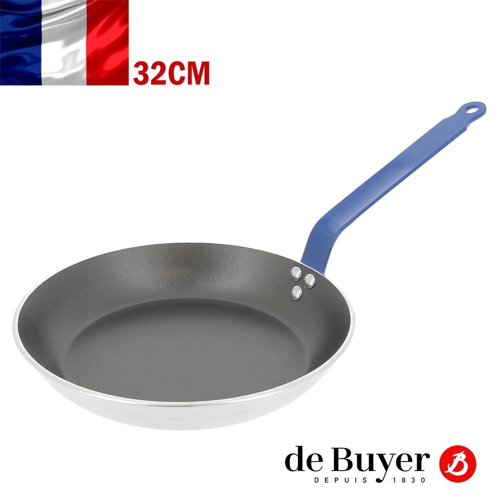 法國de Buyer畢耶 CHOC彩色系列-5層平底不沾鍋32cm(藍握柄)