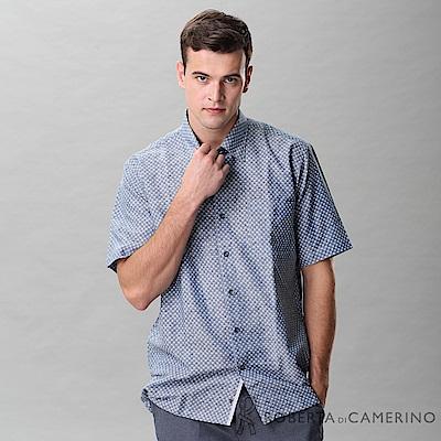 ROBERTA諾貝達 台灣製 進口素材 吸濕排汗透氣 點點短袖襯衫 藍灰