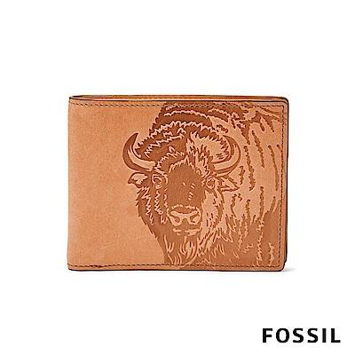 FOSSIL Luke 圖騰真皮RFID短夾-駝色