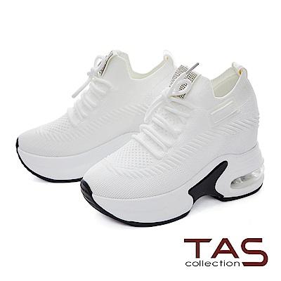 TAS彈力透氣內增高綁帶老爹鞋-輕盈白