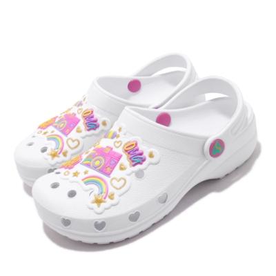 Skechers 休閒鞋 Heart Charmer 洞洞鞋 童鞋 愛心 下雨必備 好穿脫 透氣 中大童 白 粉 308003LWMLT