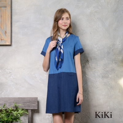 【KiKi】輕丹寧拼接-洋裝(藍色)