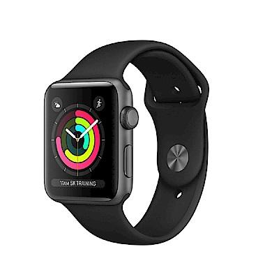 Apple Watch S3 38mm 太空灰色鋁金屬錶殼搭配黑色運動型錶帶