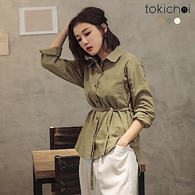 東京著衣 簡約無印風多色附綁帶長袖上衣-S.M(共三色)