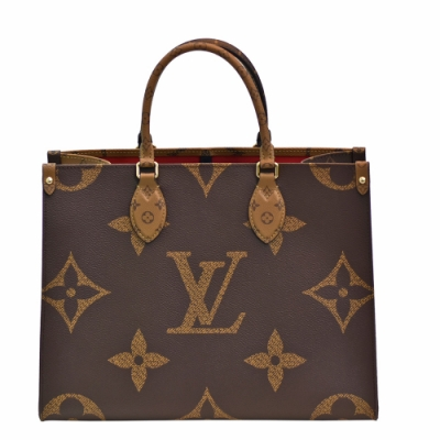LV M45321經典ONTHEGO MM Monogram Reverse帆布手提/肩背購物包