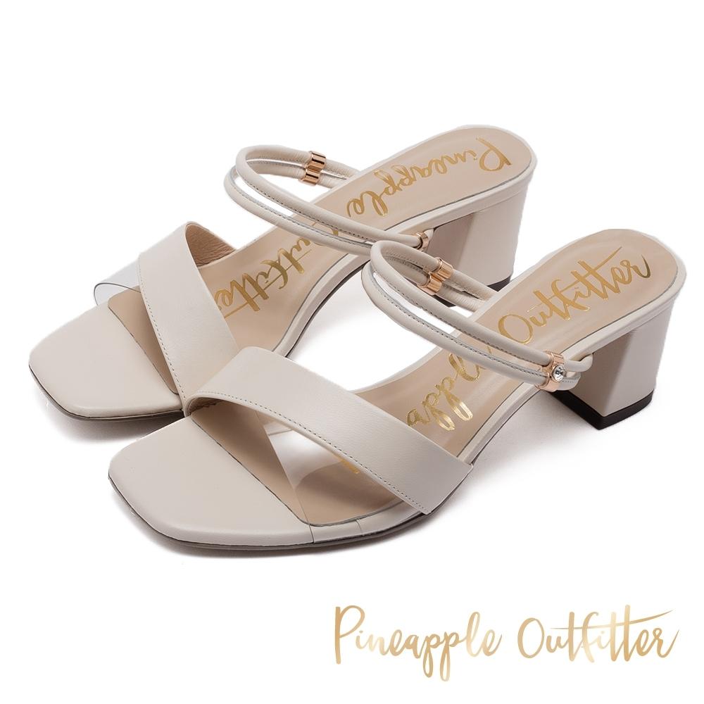 Pineapple Outfitter 真皮拼接透明 兩穿式粗跟涼拖鞋-白色