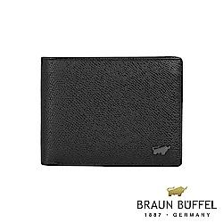 BRAUN BUFFEL - 莫里森系列8卡中間翻透明窗零錢皮夾 - 黑