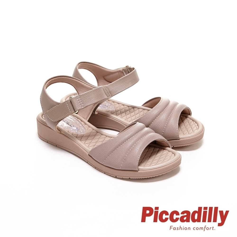 Piccadilly 寬帶素面超軟坡跟船型底涼鞋 奶茶色(另有黑)