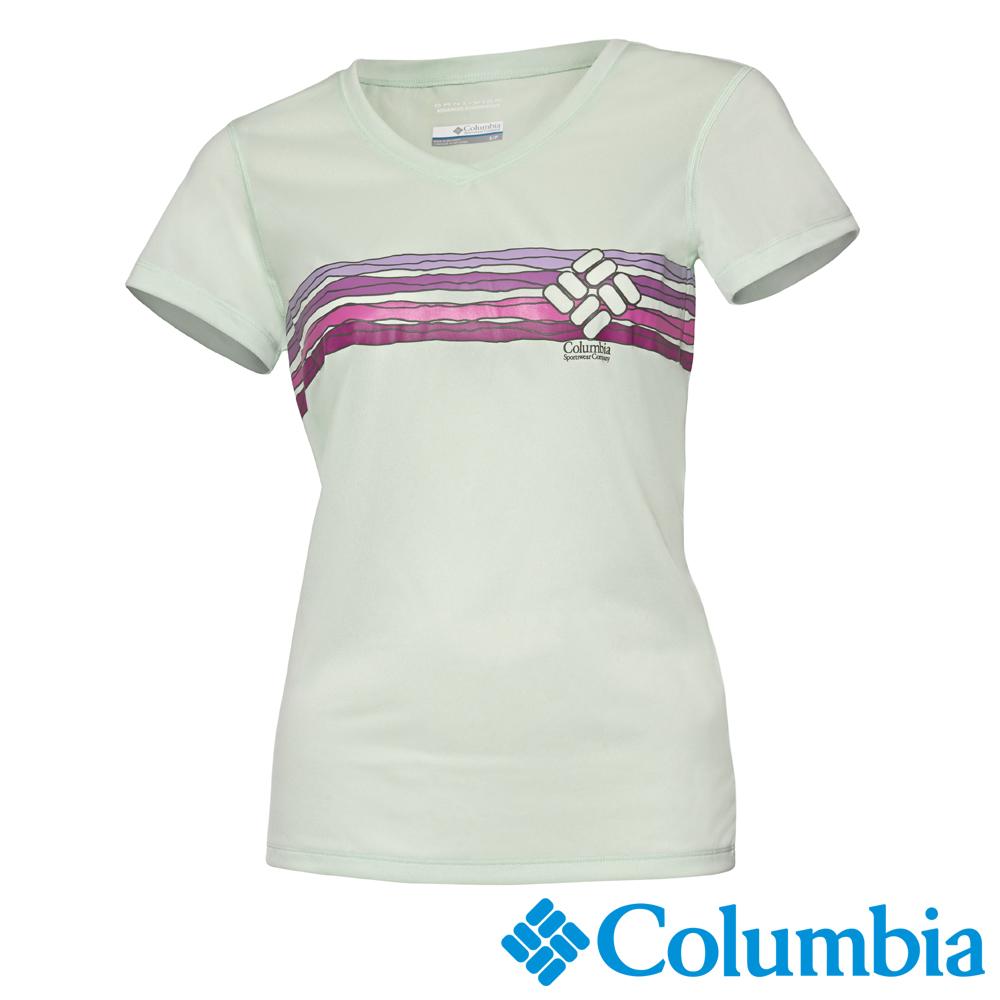 Columbia 哥倫比亞 女款-快排短袖上衣-果綠色 UAL19170OD