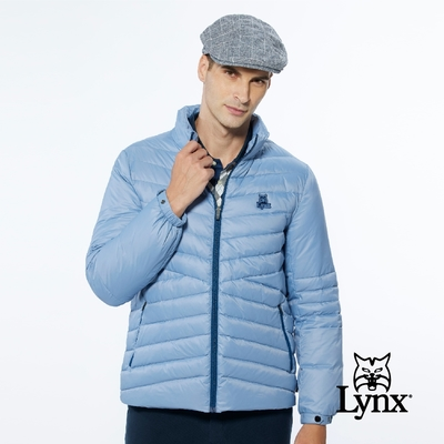 【Lynx Golf】男款保暖羽絨山貓織標LOGO夾標設計長袖外套-灰藍色