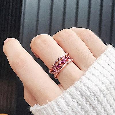 梨花HaNA 韓國清新桃紅小愛心開口鏤空戒指 (玫瑰金)