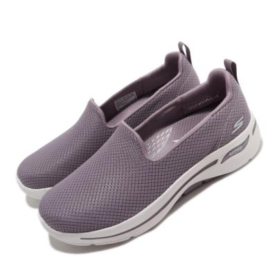 Skechers 休閒鞋 Go Walk Arch Fit 女鞋 專利鞋墊 足科醫生推薦 回彈 避震 穩定 紫 白 124401MVE