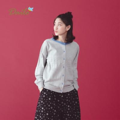 【Dailo】合身撞色外套-針織衫(三色)