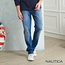 Nautica經典修身刷色直筒牛仔褲-淺藍