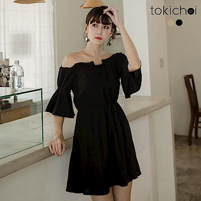 東京著衣 輕甜鬆緊綁帶一字領洋裝-S.M(共二色)