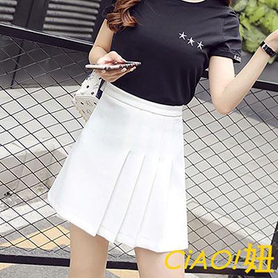 拼半邊百褶高腰短裙 (白色)-CiAO妞