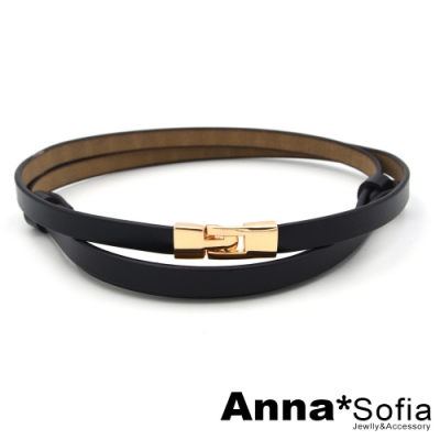 AnnaSofia 金錨釦細革 背調式二層牛皮腰帶皮帶(酷黑)