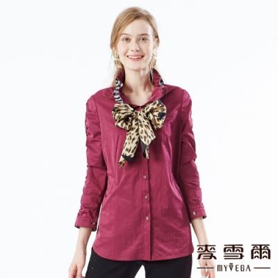 【麥雪爾】個性立領抓皺袖外套-紫