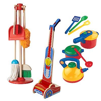 美德幼教品牌聯合 木製吸塵器+掃地清潔工具+鍋具組