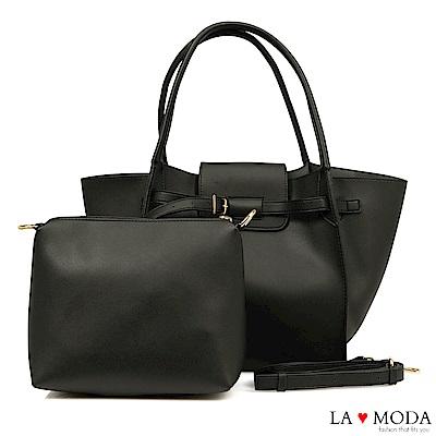 La Moda 時尚搭配單品超大容量釦飾設計肩背斜背子母包(黑)