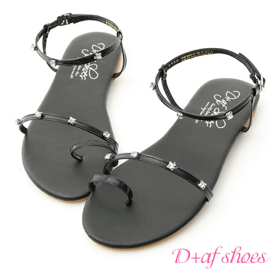 D+AF 夢幻夏日.水鑽寶石細帶平底涼鞋*黑