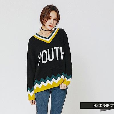 H:CONNECT 韓國品牌 女裝-繽紛撞色滾邊針織上衣-黑