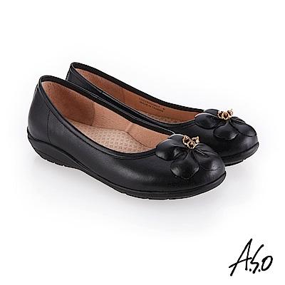 A.S.O 新式復古 花朵裝飾休閒鞋 黑