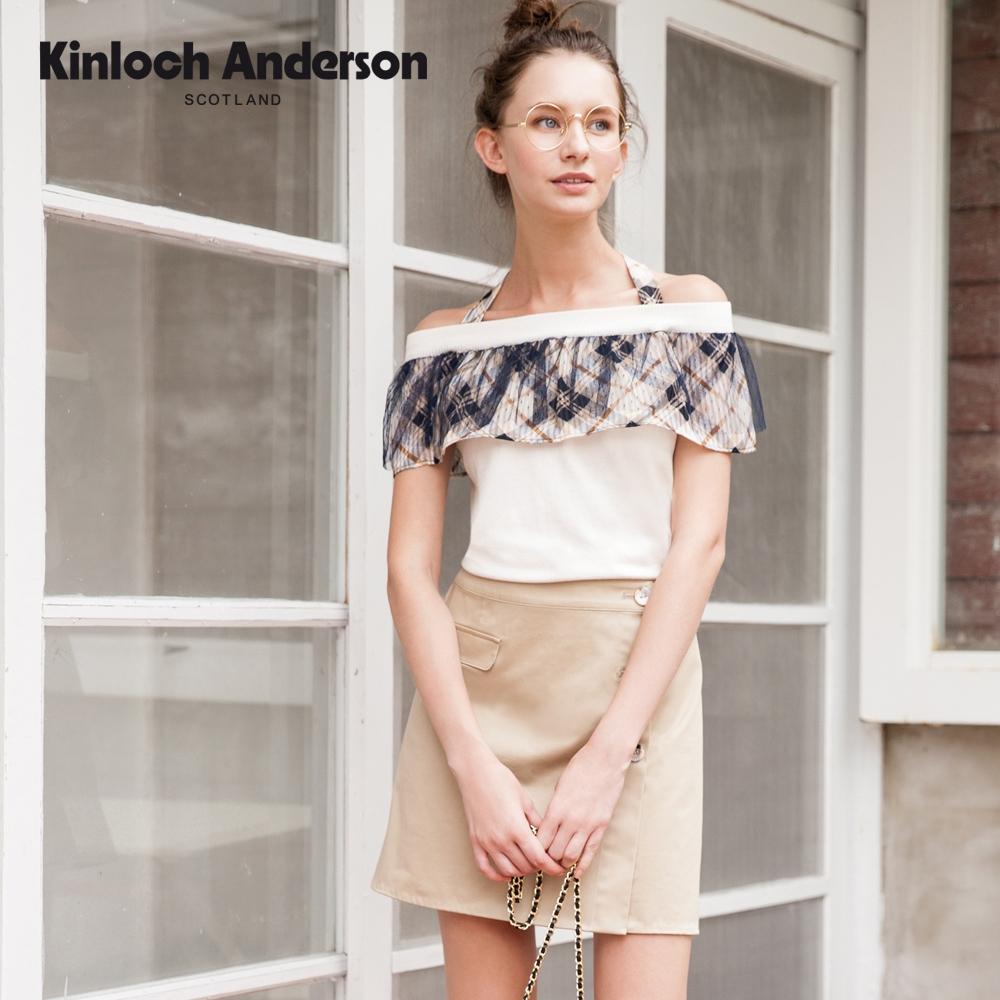【Kinloch Anderson金安德森】俐落排釦短裙車袋蓋百搭裙(短裙-棉質-卡其淺咖奶茶)