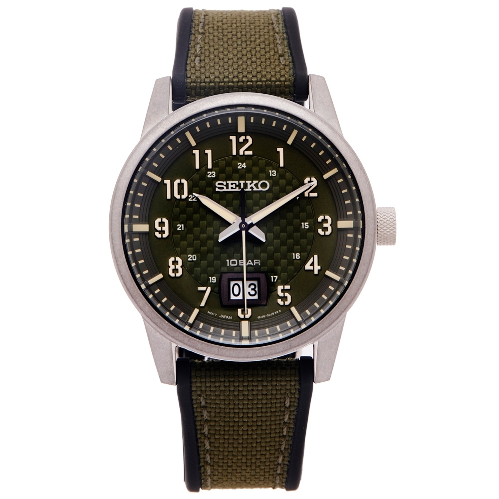 SEIKO 率性時尚橡膠與帆布帶材質錶帶手錶(SUR323P1)-綠面X銀灰框40mm