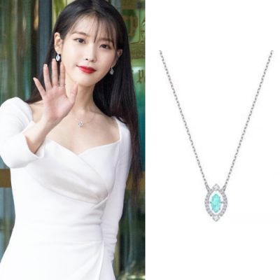 梨花HaNA 韓國925銀IU德魯納酒店藍幻水晶月之海項鍊