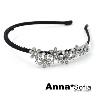 AnnaSofia 花燦綻放彩白晶 韓式寬髮箍(黑系)