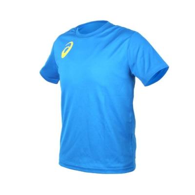 ASICS 男女限量運動排汗LOGO短袖T恤-慢跑 路跑 亞瑟士 寶藍黃