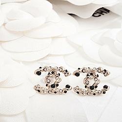 CHANEL 經典雙C LOGO不規則大小鑲珠穿式耳環 (金色)