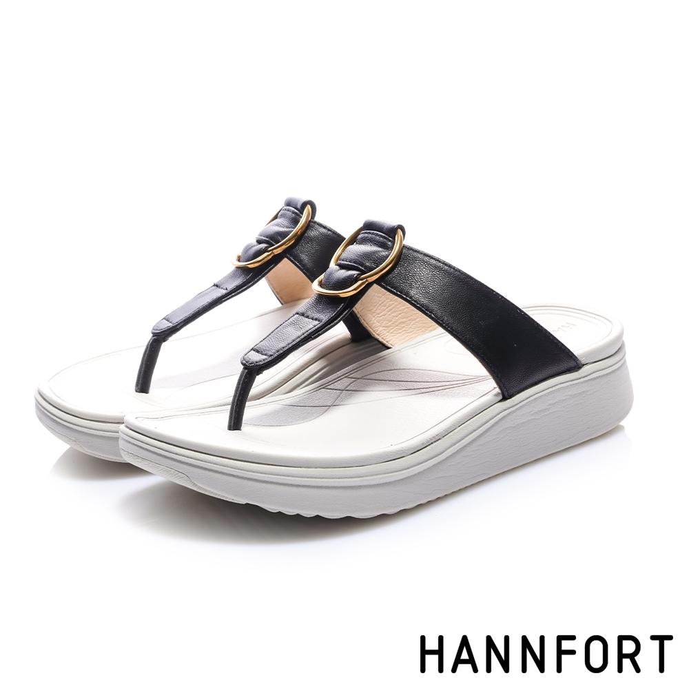 HANNFORT Ultra Comf 4D 羊皮五金厚底拖鞋-女-黑