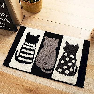 BUNNY LIFE 可愛植絨吸水防滑地墊-黑白貓(小45x60cm)