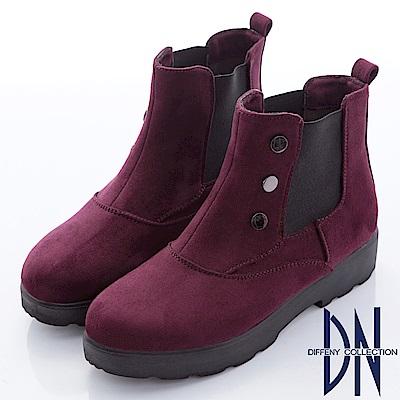 DN 都會時尚 素面仿麂皮銅釦厚底靴-酒紅