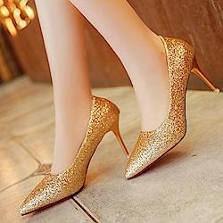 KEITH-WILL時尚鞋館 明星同款浪漫亮眼跟鞋-金色
