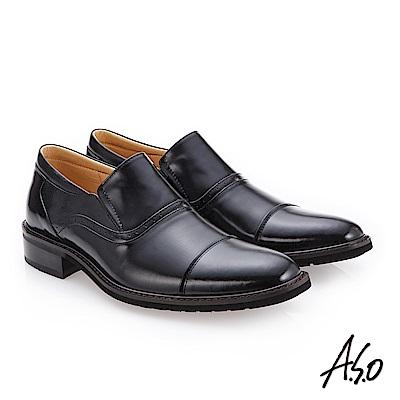 A.S.O 3D超動能 細緻鏡面真皮鞋 黑