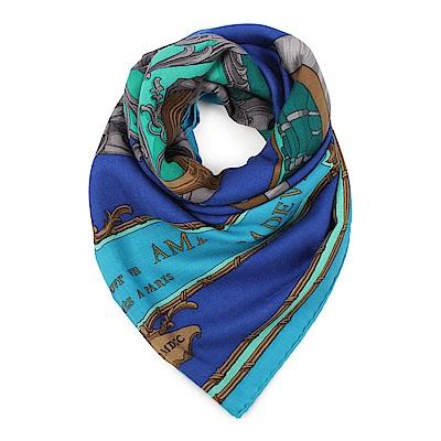 HERMES Grand Carrosse 圖騰真絲披肩方型圍巾-藍色