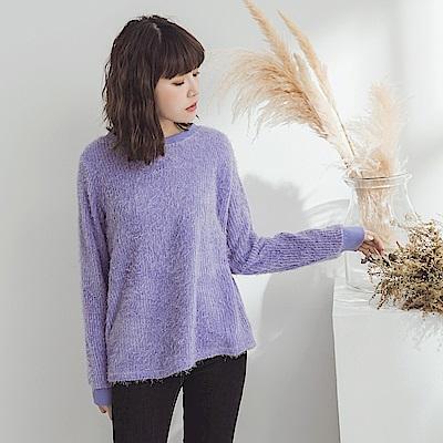 純色長毛仿針織毛衣-OB大尺碼