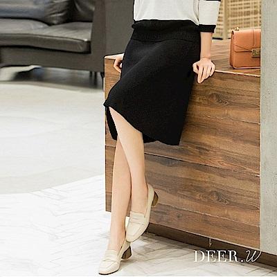 DEER.W 坑條及膝針織傘裙(黑)