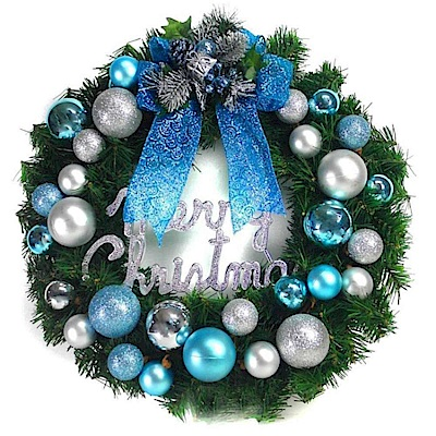 摩達客 20吋繽紛圓球高級綠色聖誕花圈(藍銀色系)(台灣手工組裝出貨)本島免運費